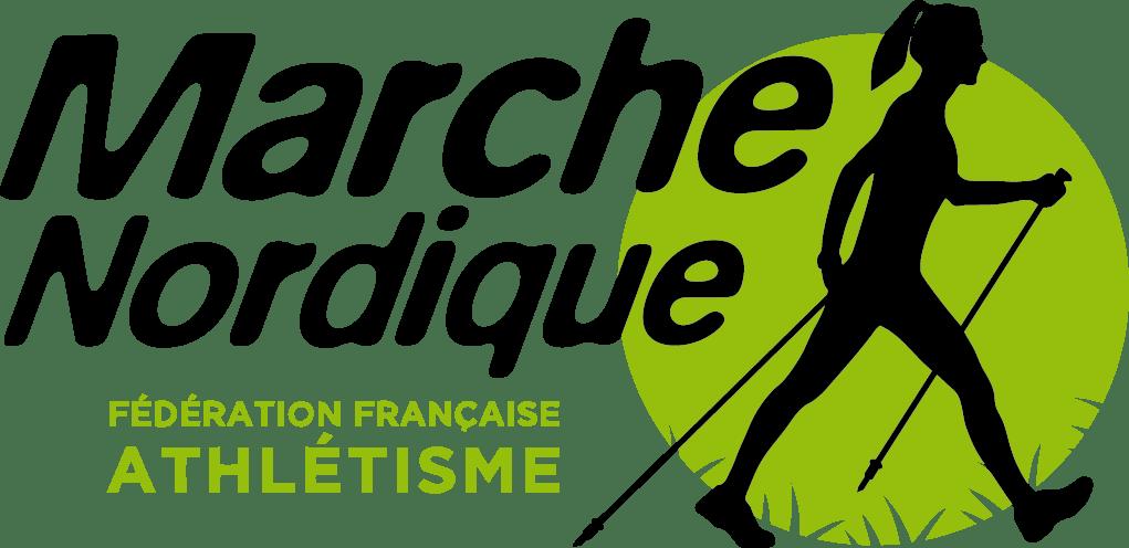 Pictogramme de la marche nordique (silhouette féminine avec bâtons) de la Fédération Française d'Athlétisme.