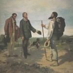 Le bâton de marche. Peinture de Courbet (1854). A noter la grande taille du bâton et le sac à dos. Précurseur de la marche nordique ?