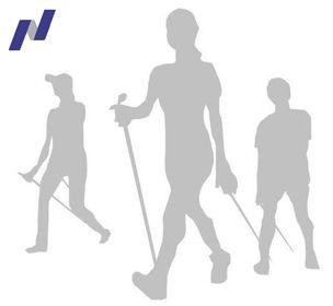 Pictogramme de 3 personnes pratiquant la marche nordique. La marche nordique est une marche rapide et sportive à l'aide de bâtons. Pratiquée en groupe, la marche nordique est conviviale.
