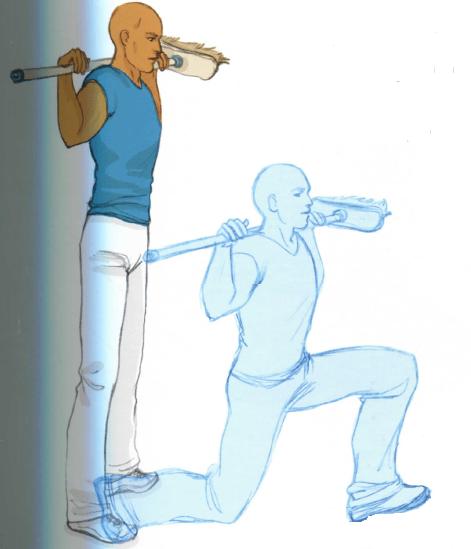 Exercice spécial marche nordique : fente avant avec bâton sur les épaules